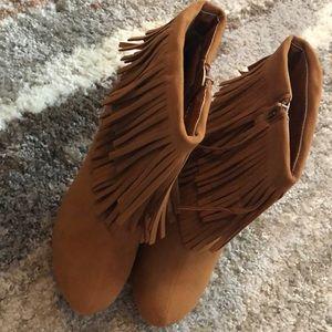 Fringe high heel booties